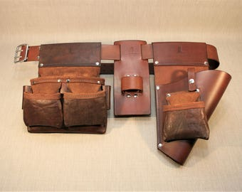 Heavy Duty Carpenter-Builder Leather Tool Belt Complete Set