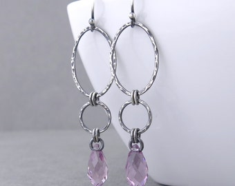 Lilac Crystal Earrings Long Dangle Earrings Silver Drop Earrings Geometric Jewelry Rustic Jewelry Gift for Her - Adorned Aubrey