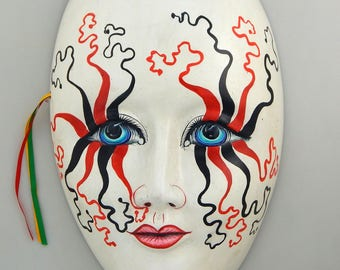 Mexican Clay Mask Ceramic Wall Decorative Handmade Hand Painted Harlequin Mardi Gras Wall Hanging