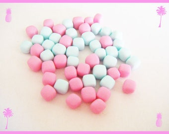 50 miniature Marshmallow Fimo polymer clay for jar - pastel