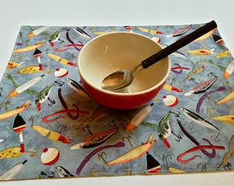Fishing Fabric Placemats, Gift for Guy, Fisherman Placemats, Outdoors Man, Set of 4