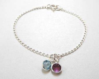 Personalized Birthstone Bracelet, Swarovski Birthstone Charm Bracelet, Mother's Gift, Sister's Gift, Best Friend's Gift