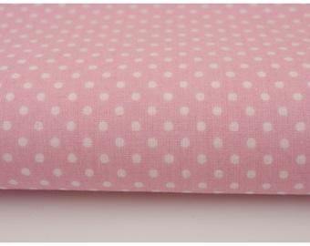 100% cotton fabric piece 160 x 50 cm, textile printing, cotton 100% 2mm white polka dot on pink