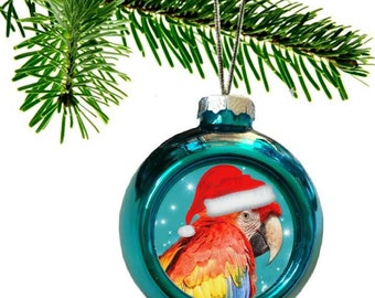 Scarlet Macaw Parrot Santa Hat Shiny Blue Christmas Bauble Ornament with Snowflake Pattern
