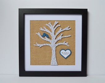 Personalized Wedding Anniversary Gift - First Dance Song Lyrics, 3D Paper Tree, Customized Wedding Gift, Gift for Wife