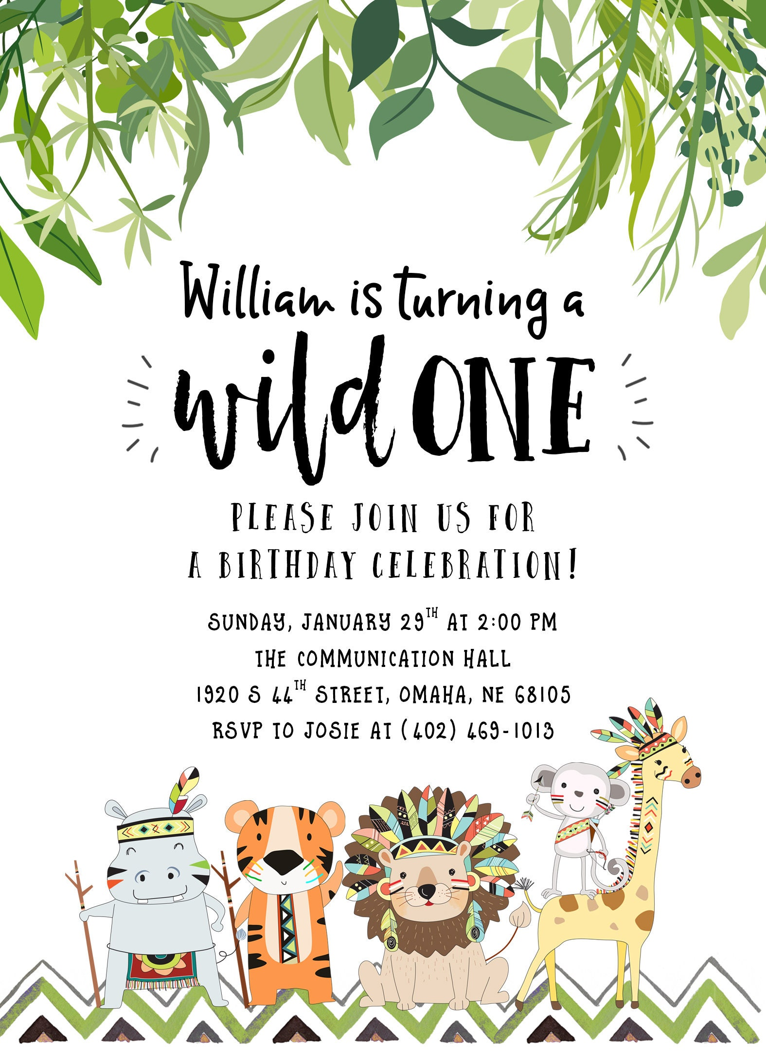 Safari First Birthday Invitations Choice Image Invitation
