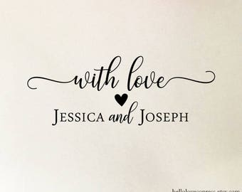 Personalized With Love Stamp, Custom Wedding Stamp, Wooden or Self Inking Stamp, Thank You Cards Stamp, Wedding Favors Stamp with Names