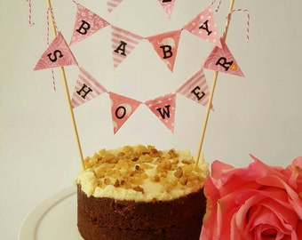 A Personalised Baby Pink Mini Cake Topper Bunting Banner for a special Baby Shower.