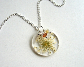 Queen Anne's Lace - Real Flower Garden Necklace - botanic jewelry, pressed flower jewelry, Swarovski crystals, flower necklace, natural,ooak