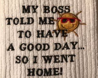 Embroidered Novelty Towel.