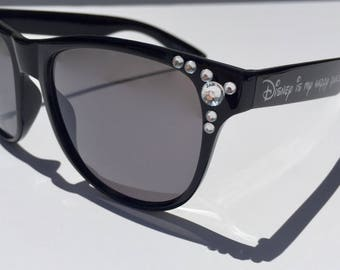 "Black Sunglasses-Customizable Gems-""Disney is my happy place!"" Sunglasses"