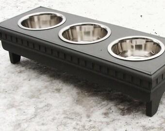 3 Bowl Dog Feeder, Elevated Dog Feeder, 3 Dog Bowl Stand, Pet Feeding Stand, Classic Gray, Custom