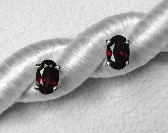 Anthill Garnet / Arizona Pyrope Garnet / Stud Earrings / Sterling Silver / Red Garnet