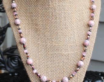 SALE:Pink n Czech Necklace