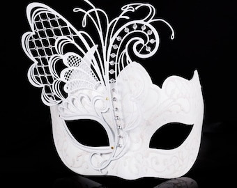 White Butterfly Costume Masquerade Mask, Halloween Costume, Masquerade Ball Mask