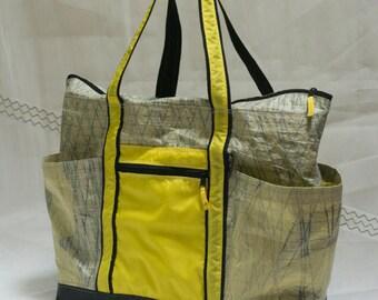 Terrapin Beach Bag, Recycled Kevlar Sailbag, w/ side pockets, Sailcloth tote, upcycled repurposed, sail cloth