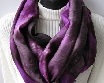 Silk Infinity Scarf -Raspberry and Expresso Brown - Hand dyed silk infinity cowl circle scarf for women winter holiday fashion accessories
