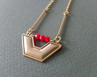 Tribal geometric red coral brass necklace