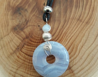 crystal necklace blue lace agate pendant  925 solid silver wire wrap on black leather cord adjustable length boho