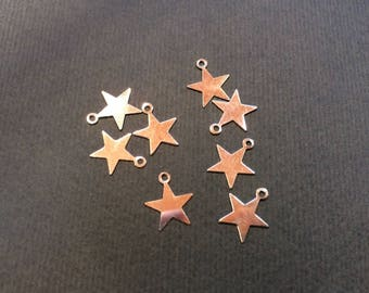 20 charms star 10 mm silver for jewelry making
