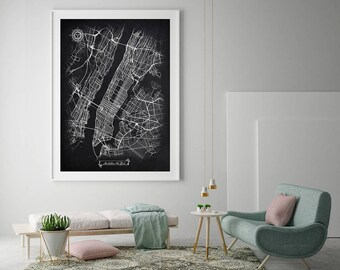"30% off MANHATTAN New York City Chalkboard 20""x30"" stretched and ready to hang Map Art Black and White  Map Wall Art Decor"