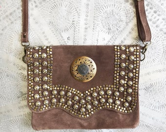 Sundial Taupe Suede Bag