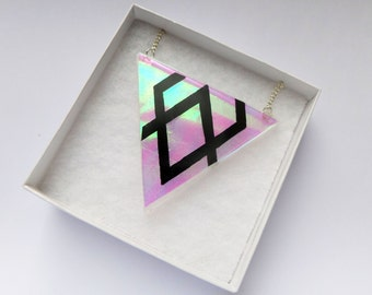 ILLUSIVE Resin Geometric Prism Triangle Diamond Iridescent Opal Statement Necklace Pendant Kawaii Kitsch Pastel Goth Grunge Festival