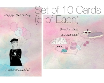 Birthday and Thank You: Paris Themed Cards