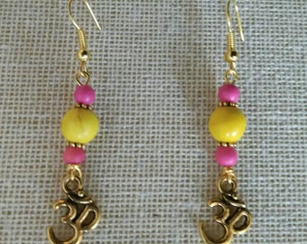 Boho yoga earrings- golden with howlite gemstones and Om-sign