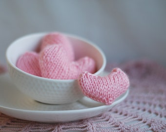 3 knitted heart. Knitting patterns (knitted round)
