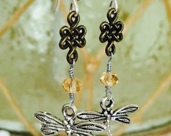 SALE! Was 16.99 Now 12.99   Celtic Knot, Scottish, Dragonfly and Amber, Swarovski Crystal Earrings