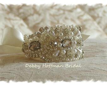 Pearl Bridal Cuff, Pearl Rhinestone Crystal Wedding Cuff Bracelet, No. 4040CB, Wedding Party Gift, Cuff Bracelet, Bridesmaid Cuff Bracelet
