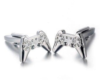 Men's Cuff Links - Silver Colored Gamer Video Game Controller