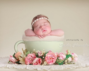 Tea cup digital backdrop , background for newborn baby girl off white green flowers