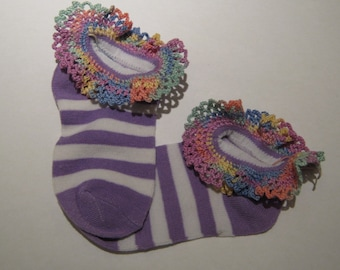 Hand Crocheted Lace edged Anklet's, ankle sock, Light Purple with a white purple and white stripe, sock size 4 to 6