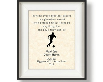 Gifts for Coaches - Personalized - Coaches Gifts - Football - Soccer Coach - Volleyball Coach Gift - Baseball Coach Gift - Fearless Quote