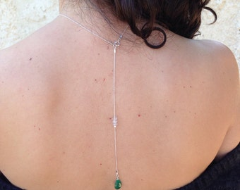 Emerald Backdrop necklace, Bridal Back drop Necklace, Statement Wedding Necklace, Wedding jewelry, Back Necklace, Birthstone Necklace