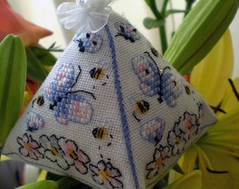Bees and Butterflies Ornament for  for Cross Stitch