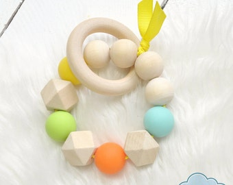 Teether Ring, Silicone, Wood, Rattle Toy