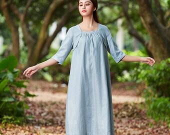 Grey Tunic Dress. Shirt Dress, Loose Fitting Dress - Linen Tunic Dress Grey Dress - Custom Made