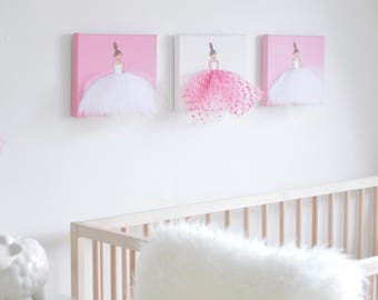 Girl Nursery Wall Art Baby Girl Nursery Decor Girl Nursery Art Ballerina Art Ballet Canvas Art Ballerina Decor Dance Painting Pink Purple