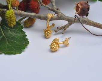 Leaf Earrings, Nature Earrings, Organic Earrings, Woodland Earrings, Botanical Earrings, Hoop Earrings, Gold Filled Earrings, Twig Earrings