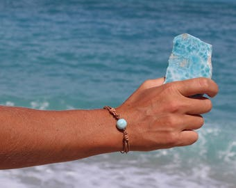 bracelet with blue larimar ball, larimar bracelet, adjustable bracelet, unisex bracelet, bracelet for men, larimar ball bracelet