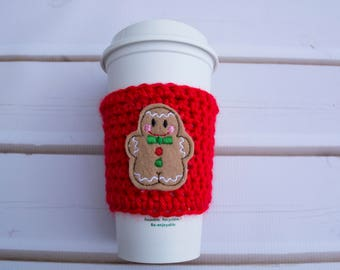 Christmas Ginger Bread Man Coffee Sleeve, Coffee Cup Cozy, Coffee Mug Cozy, Crochet Coffee Cozy,  Coffee Cup Sleeve, Tea Cozy, Mug Warmer