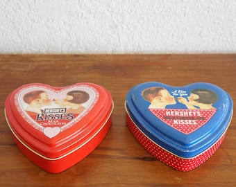 Set of Two Hershey's Kisses Milk Chocolate Heart Shaped Metal Tins