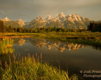 Grand Teton National Park at Sunrise Fine Art Photograph Morning Light Reflection Schwabachers Landing Snake River Mountain Landscape Print