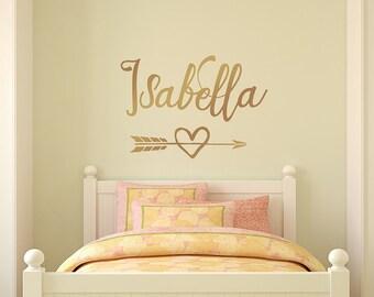 Gold Wall Decal, Personalized girl name decal, arrow heart decor, wall nursery decor, monogram arrow decal