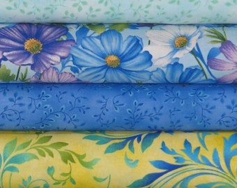 Four Blue, Purple, Yellow and Green Fabrics from Henry Glass' Collections Botanica Blooms and Folio Basics, Cotton Quilt Fabric Bundle