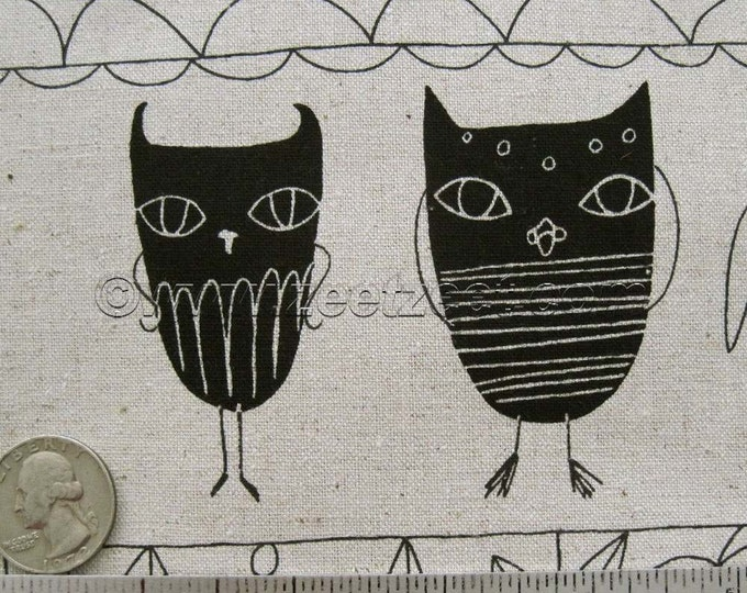 Black OWL OATMEAL Flax Black Cotton Linen Fabric - Home Dec Weight Japanese Import Owls by Yard, Half Yard, or Fq Fat Quarter Yard