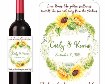 Wedding Wine Labels Personalized Labels Custom Wedding Stickers Sunflower Quotes Flower Labels Fall Weddings Summer Weddings